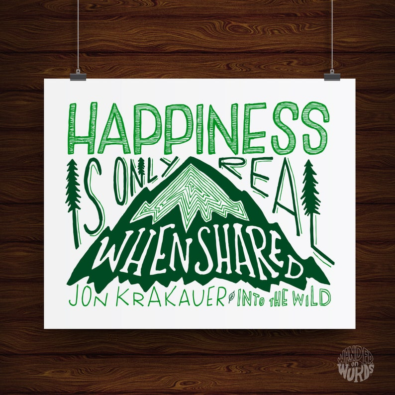 Hand Lettered Happiness Is Only Real When Shared Quote Print Etsy