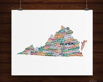 Hand Lettered Virginia State Print, Virginia Shape, Virginia Gift, Virginia Artwork, Virginia Print