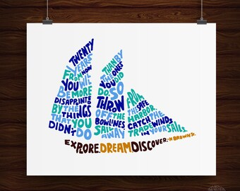 Hand Lettered Explore, Dream, Discover Quote Print, Ship Print, Nautical Print, Travel Print, Nautical Art, Inspirational Print
