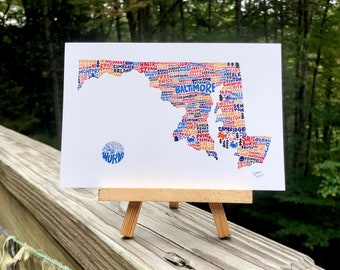 Hand-Lettered Towns of Maryland Postcard, Maryland Towns Postcard, Maryland Postcard, Maryland Shape Postcard, Maryland Map Postcard