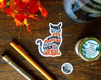 Hand-Lettered Halloween Cat Sticker, Halloween Sticker, Black Cat Sticker, Hand-Lettered Sticker, October Sticker, Cat Sticker, Cat Art