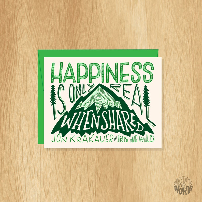 Hand Lettered Happiness Is Only Real When Shared Quote Card Etsy
