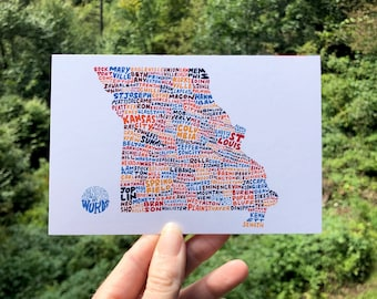 Hand-Lettered Towns of Missouri Postcard, Missouri Towns Postcard, Missouri Postcard, Missouri Shape Postcard, Missouri Map Postcard