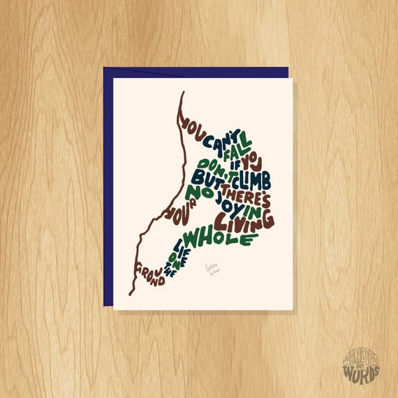 Hand Lettered Encouraging Climbing Card Motivational Card Climbing Card Climber Card Rock Climbing Card Encouraging Card