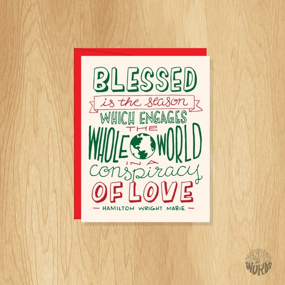 Hand Lettered Blessed Is The Season Holiday Card Christmas Etsy