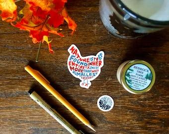 Hand-Lettered Chicken Sticker, Chicken Art Sticker, Animal Sticker, Inspirational Animal Sticker, Animal Quote Sticker, Hand-Lettered Art