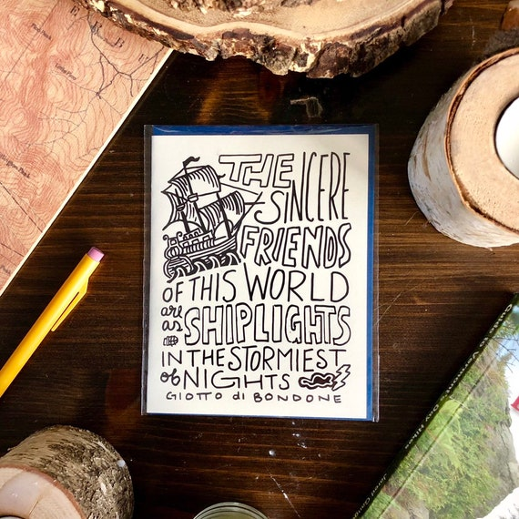Hand-Lettered Sincere Friends Card Friendship Card Ship Lights Card Friend Card Nautical Card Friendship Quote Card