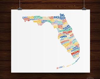 Hand Lettered Florida State Print, Florida Art, Florida Design, Florida Gift, Florida Shape
