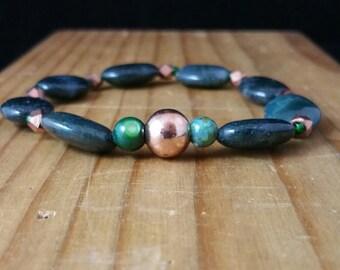 Forest Jasper and Copper Stretchy Bracelet