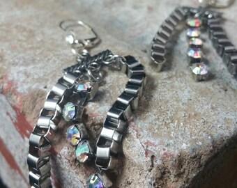 Crystal Chain Tassel Dangle Earrings