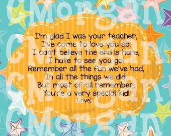 I'm glad I was your teacher...