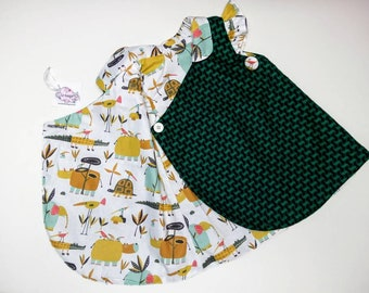 Wrap Petal dress, Green wool children's vest, Dress with collar and flutter sleeves, Children coat, jacket, Automn Winter kids clothing