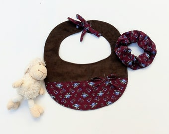 Handmade Bib and a Scrunchy, Vintage style,  Cute gift for shower party, birthday party