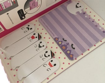 Sticky Note Set - Friendly Ghosts Halloween Themed - Kawaii stationery - Stocking Filler - Memo Pads - Planner Tabs - Memo Pad- Purple