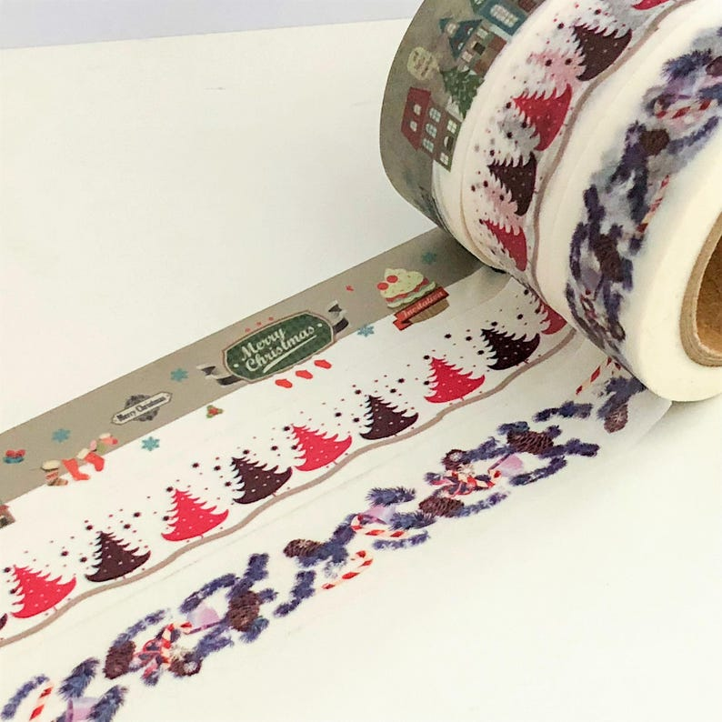 Patchwork Christmas Trees 1 x 10m Roll Adhesive Craft Washi Tape 15mm