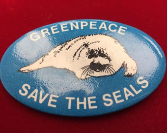 "Greenpeace ""Save the Seals"" Anti-Seal Clubbing Pinback"
