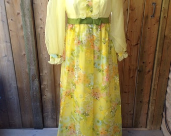 1970's Yellow Floral Dress