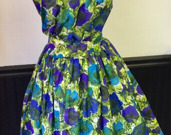 1940's Floral Summer Day Dress Bust 40""