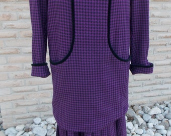 1980's Vintage Valentino Miss V Purple Houndstooth Wool Dress with Silk Lining-Made in Italy Tagged size 42