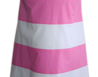 Beach hut stripe A-line sleeveless dress - choice of colours -4yrs - Made in the UK