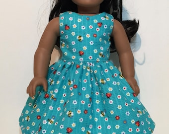 b1d54a977f1 18 inch Doll Clothes Light Grey and Yellow Floral Sundress