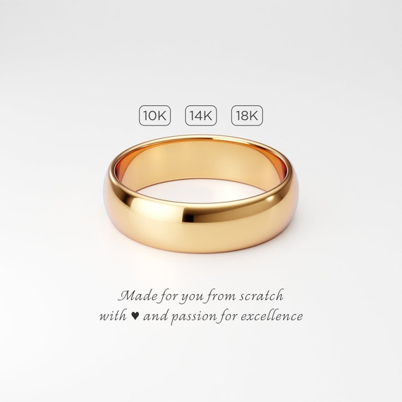 Wide wedding ring Classic wedding ring 14k yellow gold wedding ring solid gold band 6mm wedding ring Rounded wedding ring