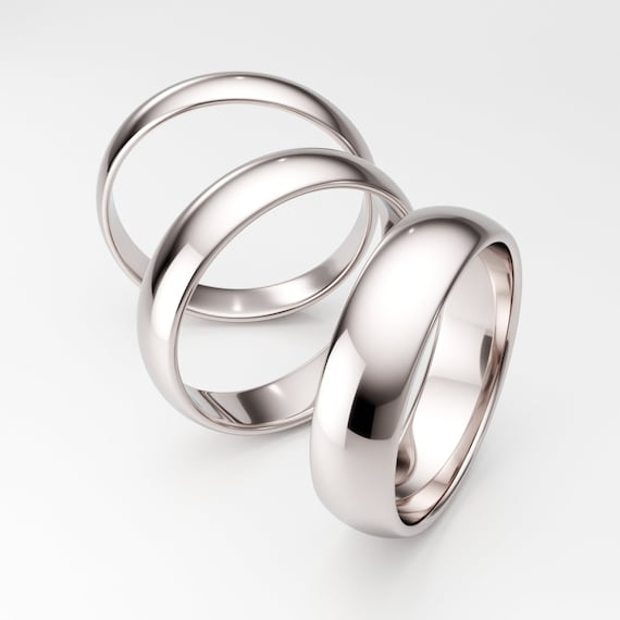 Polished men/'s wedding ring 4mm set his her for solid plain Handmade solid 14k white gold flat band 14K White Gold Men/'s Wedding Band