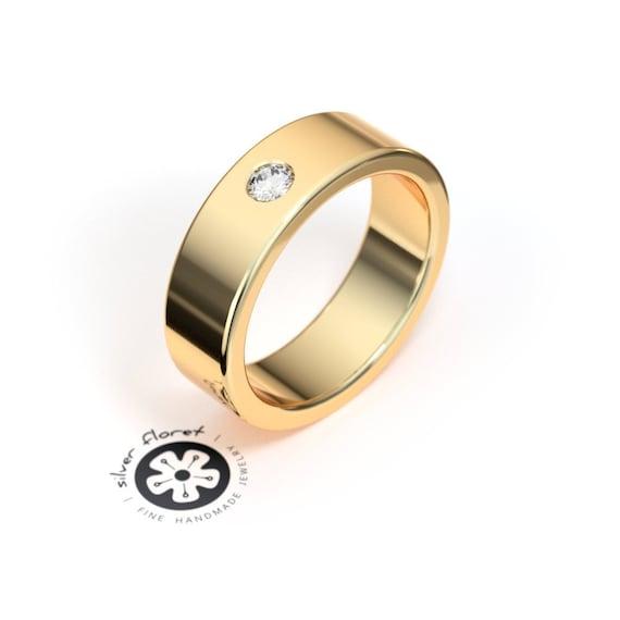 6mm 14k Yellow Gold Diamond Ring For Men Flat Ring Band Etsy