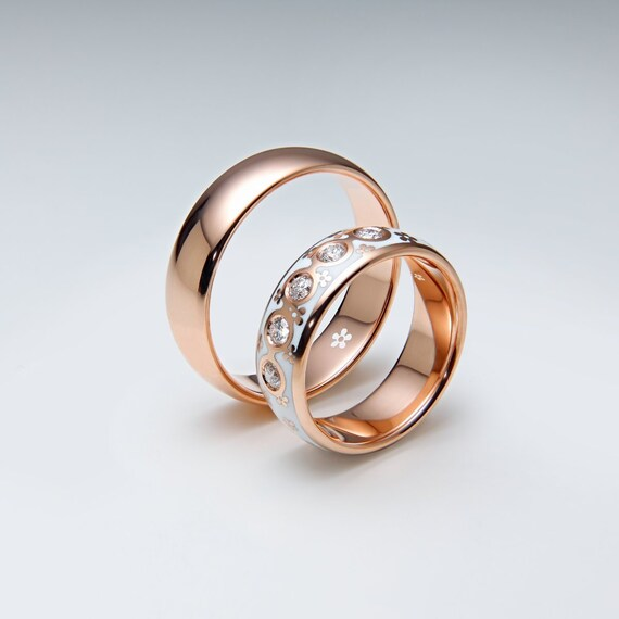 Matching Wedding Bands Set His And Hers Diamond Wedding Etsy