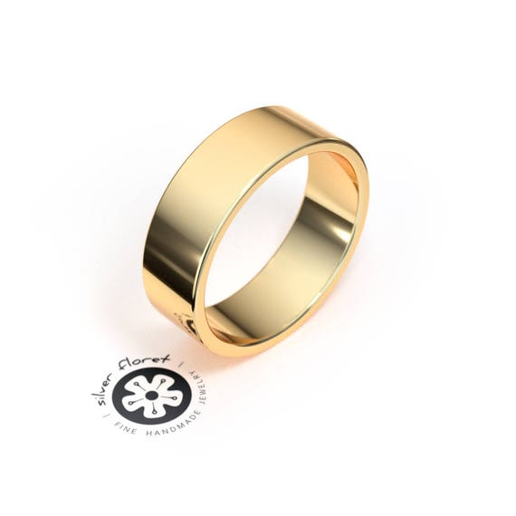 10k Yellow Gold 6mm Engravable Flat Band