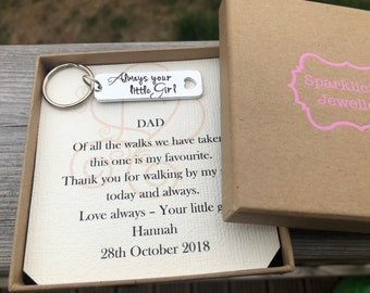 Father of the bride keyring and personalised gift box, Always your little Girl keyring, Father of the bride, Dad keyring