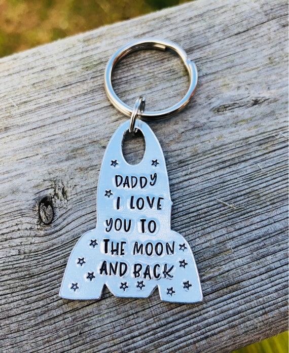 Daddy Grandad Personalised Love You To The Moon Star /& Back Keyring Fathers day