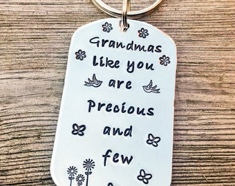 Hand stamped personalised keyring gift for her, grandma keyring, mum keyring, nanny keyring, Mother's Day gift
