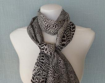Black & White Animal Print Silk Scarf