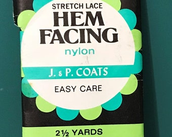 J & P Coats' Stretch Lace Hem Facing in Blue, Gray, Navy Blue, Off-white and Ecru