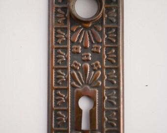 Ten Matching Restored Ornate Eastlake Victorian Door Backplates, Leaf Motif