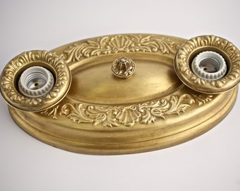 Restored Matched Pair, Ornate Victorian/Deco Ceiling Sconces, Dull Golden Patina-HOLD FOR BRONWYN