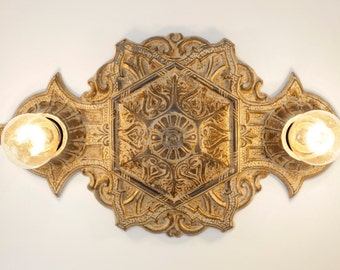 Exceptional Ornate Victorian Cast Iron Ceiling Lights (Pair), Heavily Distressed Patina
