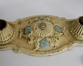 Matching Set of 3 Cast Iron Ceiling Lights by Markel, Distressed Finish