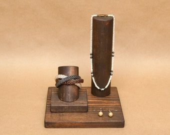 Wood Jewelry Display Set / Bracelet Display Stand / Necklace Display Stand / Earring Display / BR013