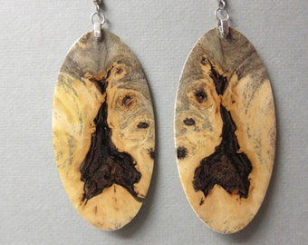 Wooden Long Rectangle Dangle Earrings from Sustainable Exotic Walnut Wood Hypoallergenic Handmade in USA.