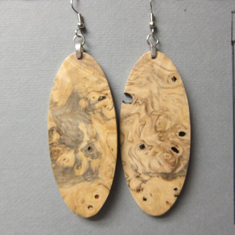 Extra Large Buckeye Burl Exotic Wood Earrings oval drop dangle handcrafted lightweight ExoticWoodJewelryAnd