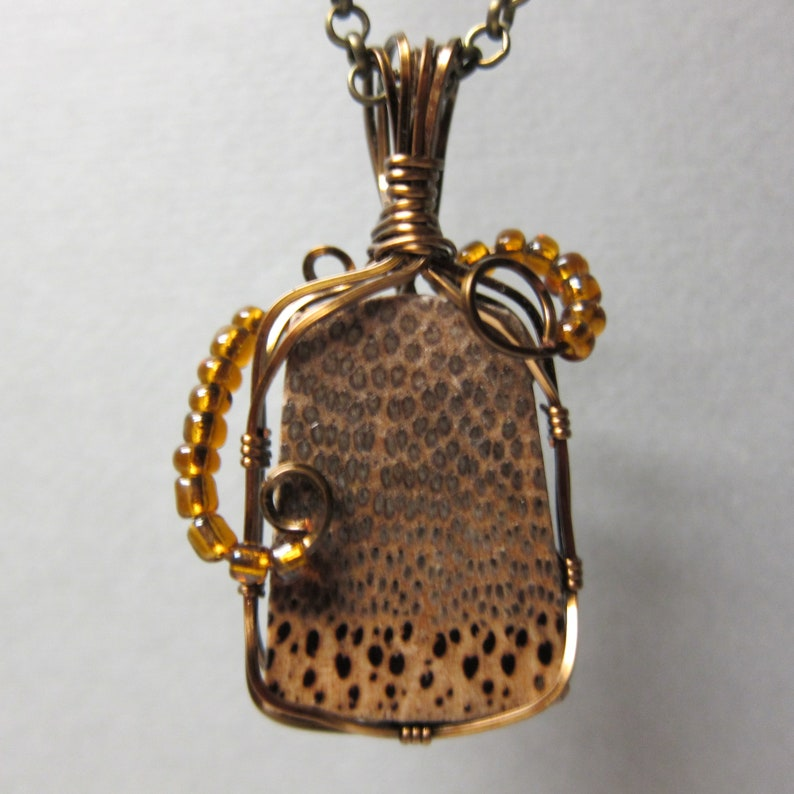 Black Palm Exotic Wood Wire wrap Pendant with non tarnish image 0