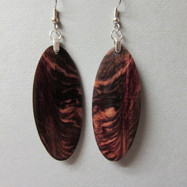 RARE Camatillo Rosewood Exotic Oval Wood Earrings handcrafted image 0