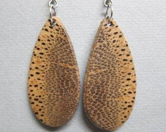 Unique Black Palm Exotic Wood Earrings repurposed ecofriendly Handcrafted ExoticWoodJewelryAnd