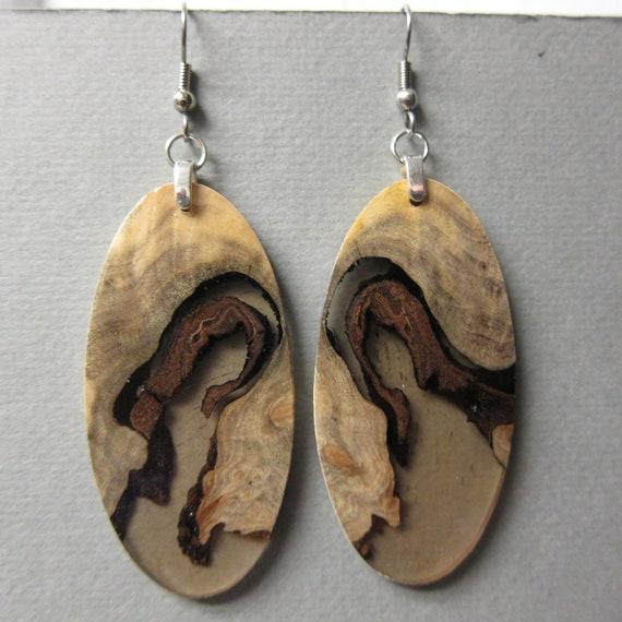 Unique Buckeye Burl /& Resin Wood Dangle Earrings Handmade recyled repurposed ExoticwoodJewelryAnd