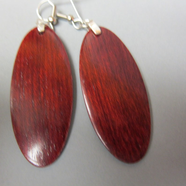 BLood Wood, Exotic Wood Oval Earrings, repurposed ecofriendly Handcrafted lightweight