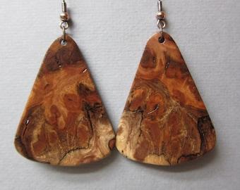 Rare Gmelia Burl Large Exotic Wood Dangle Earrings ExoticWoodJewelryAnd handcrafted ecofriendly