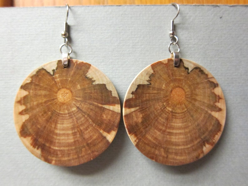 Large Round 1 1/4 inch Circle Exotic Wood Earrings Monkey image 0