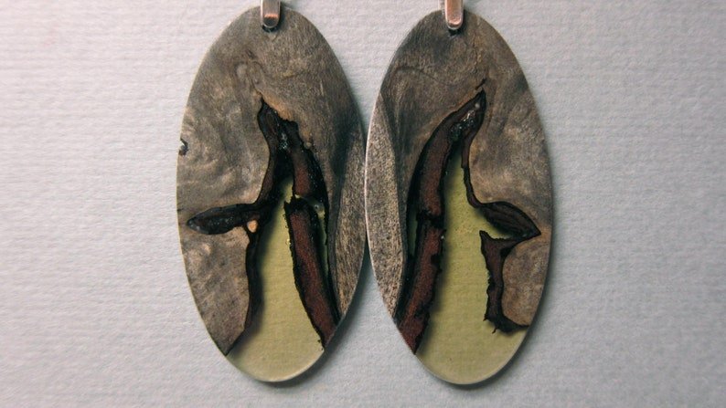 Exotic Wood Resin Exotic Wood Earrings Drop oval handcrafted image 0